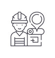 engineer and house plan line icon concept vector image vector image