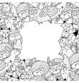 forest animals black and white frame with place vector image vector image