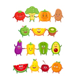 Funny fruits and vegetables cartoon characters vector image vector image