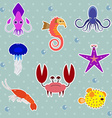 Funny Sea Creatures Animal Stickers Set vector image vector image