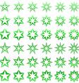 Green star shape set vector image vector image