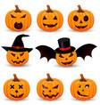 halloween pumpkin set emotion variation simple vector image vector image