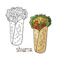 hand drawn shaurma black and white and color vector image vector image