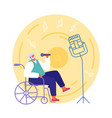 handicapped senior man sitting in wheelchair vector image