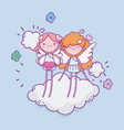happy valentines day cute cupids on cloud hearts vector image