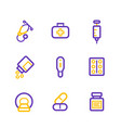 healthcare hospital medical line icons vector image