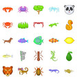 herbivores icons set cartoon style vector image vector image