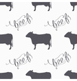 Hipster style cow seamless pattern Beef meat hand vector image vector image
