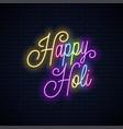holi vintage neon lettering happy holi neon vector image
