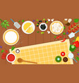 ingredients for making pizza dough and filling vector image vector image