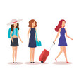 isolated travel girls design vector image vector image