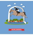 Jokey accomplishes a horse jumping design vector image vector image