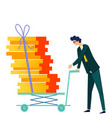 male character pushes cargo trolley cartoon vector image