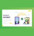 mobile payment phone cash transfer landing page vector image