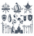 monochrome pictures and badges of medieval knight vector image