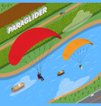 Paraglider isometric vector image