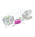 Pink car on the city road for your design vector image vector image