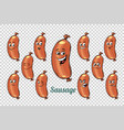 sausage emotions characters collection set vector image
