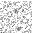 seamless outlined pattern with jasmine vector image vector image