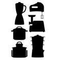 set black silhouettes kitchen instruments vector image vector image