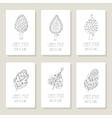 Set of cards with doodle trees flowers fruits vector image