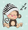 sleeping cute monkey in a hood vector image vector image