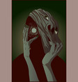 slender mutant creature ripping off his face vector image vector image