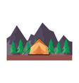 tent camping trees and mountains vector image vector image