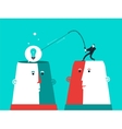 Two heads with man who catch the bulb business vector image