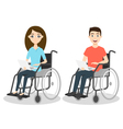 two young man and woman in wheelchair holding vector image vector image