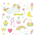 Unicorn magic set with rainbow stars and sweets vector image vector image