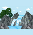 waterfall at day time vector image