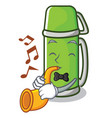 with trumpet thermos character cartoon style vector image vector image