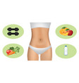 woman body with dumbbells and healthy food vector image