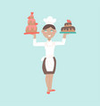 woman professional chef character with delicious vector image