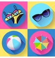 Women Beach icon set Swimsuit ball sunglasses vector image vector image