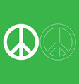 world peace sign symbol icon white color vector image vector image