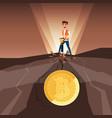 businessman mining bitcoins with jackhammer vector image