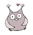 cute funny happy cheerful in love owl bird vector image