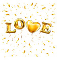 gold letter love balloons heart gold characters vector image
