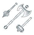 medieval axe warhammer mace engraving style vector image