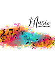 abstract watercolor music background with notes vector image