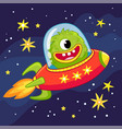 alien monster flying in a spaceship vector image vector image