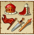 Attributes of Royal authority and power king set vector image vector image