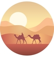 Bedouin leading a caravan of camels in the desert vector image