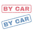 by car textile stamps vector image vector image