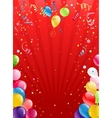 Celebration red background with balloons vector image vector image