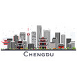 chengdu china skyline with gray buildings vector image vector image