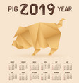 chinese new year 2019 pig origami calendar vector image