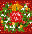 christmas holiday wreath with bell vector image vector image